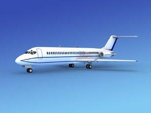 dc-9 commercial airliner 3d dxf