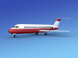 dc-9 commercial airliner 3d max