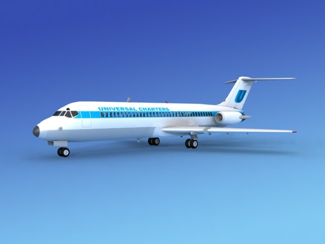 3ds max dc-9 commercial airliner