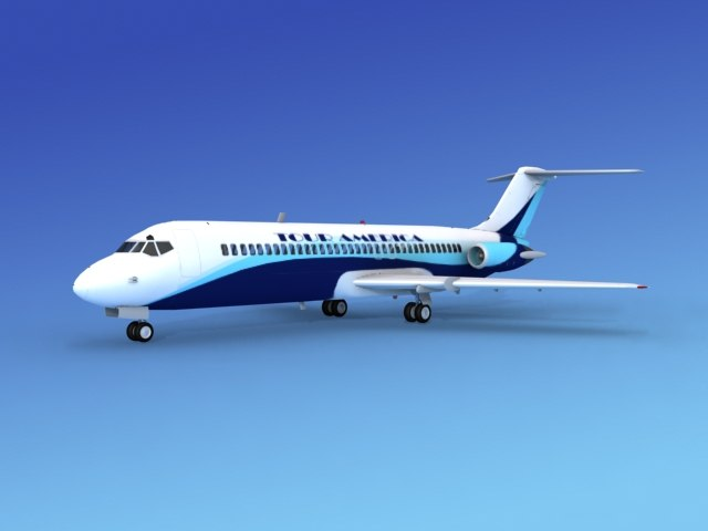 dc-9 commercial airliner 3ds