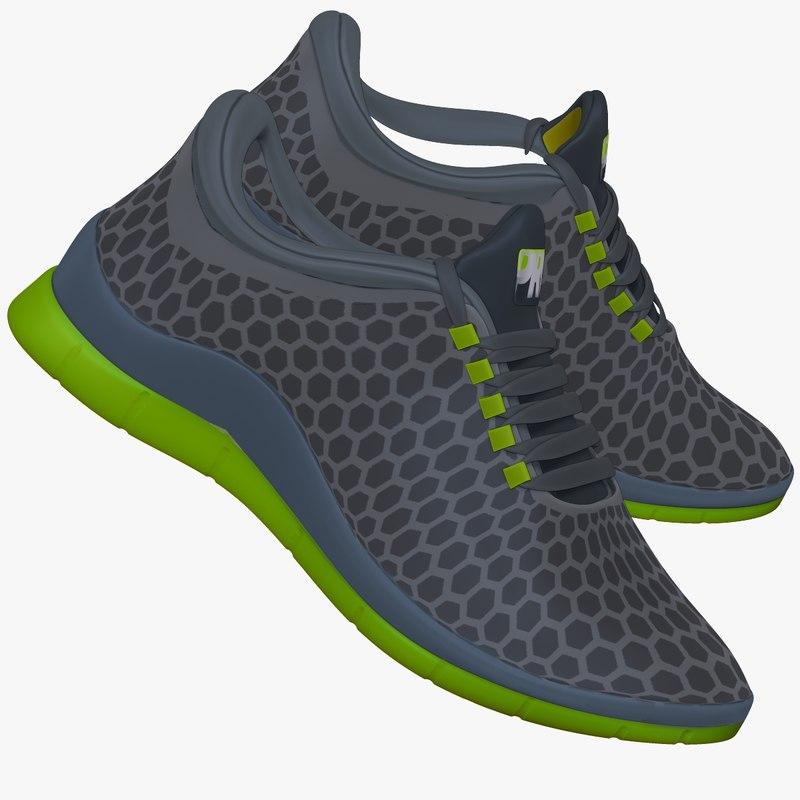 3d model green gray sneaker