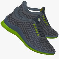 3d model green gray sneaker