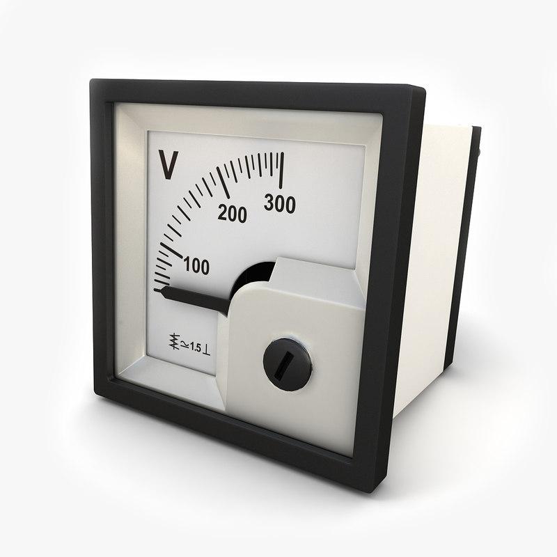 3d analog panel dc voltmeter model