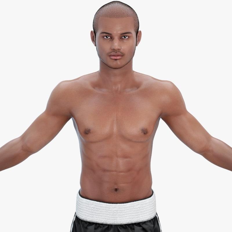 3d boxer character rigging model
