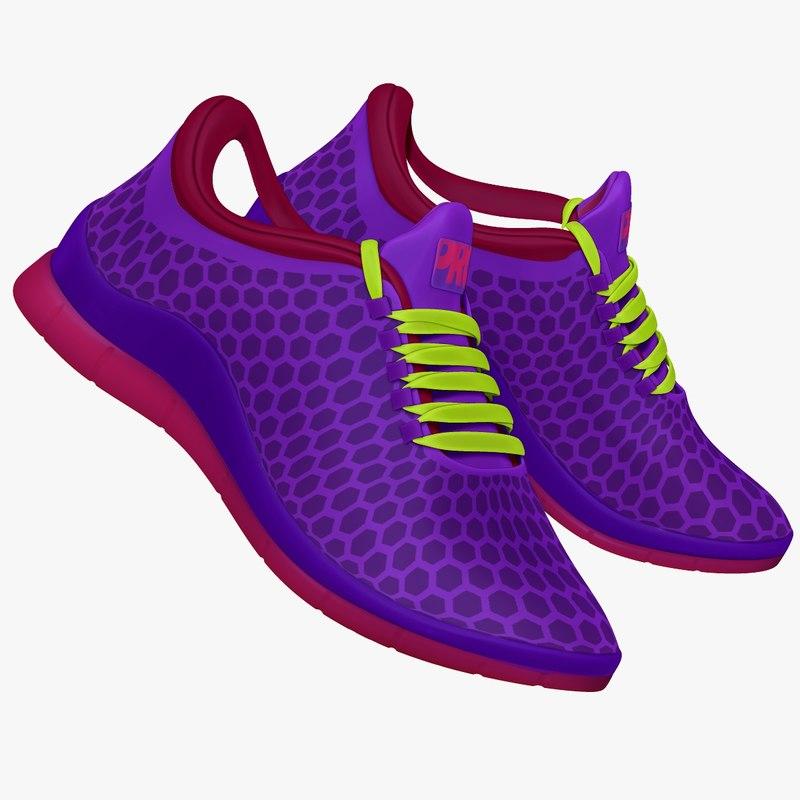purple blue pink sneaker 3d obj