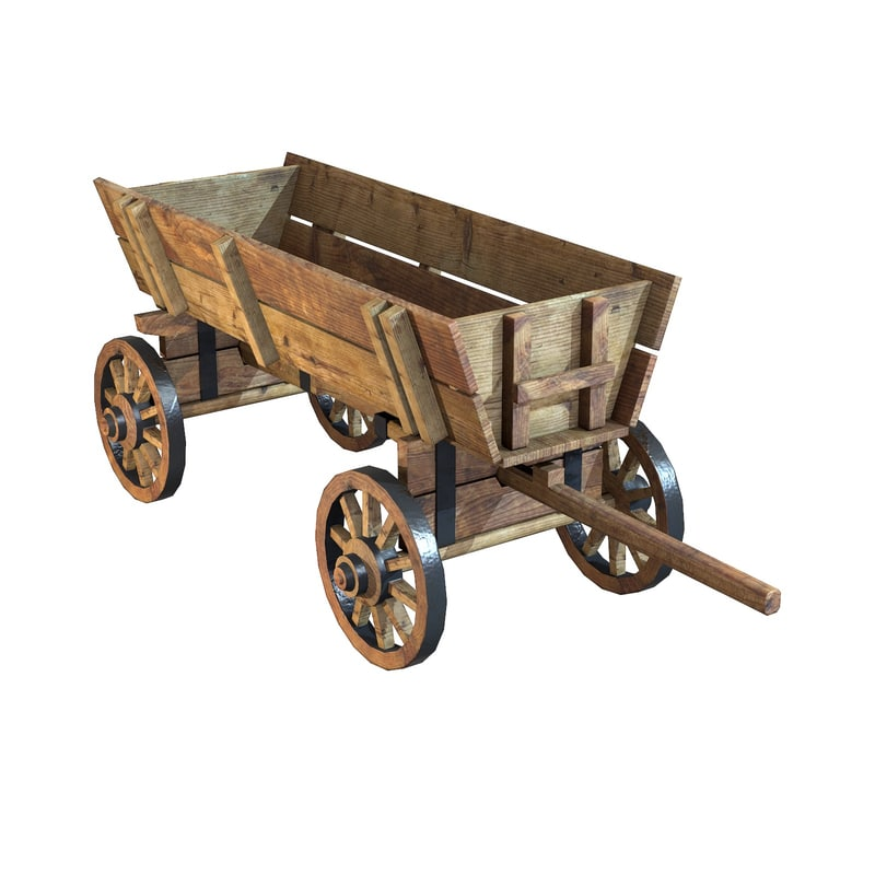3d model old wooden cart