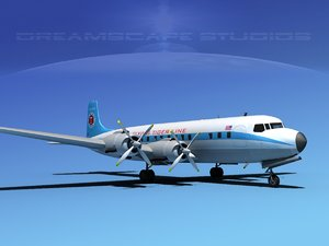 3d douglas dc-7c dc-7 flying model