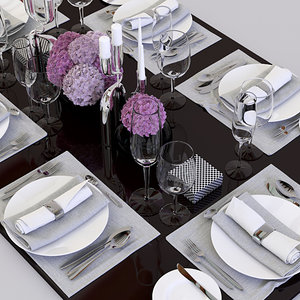 3ds max set table dinner