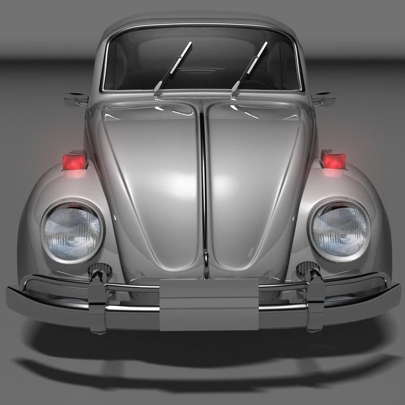 3d beetle small vintage car