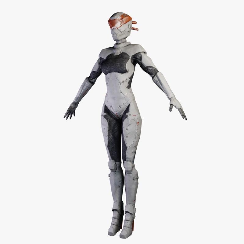 3d woman robotic astro model