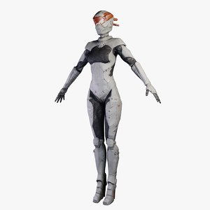 3d woman robotic astro model