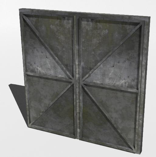 3d model metal bunker doors
