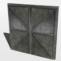 3d model metal bunker doors