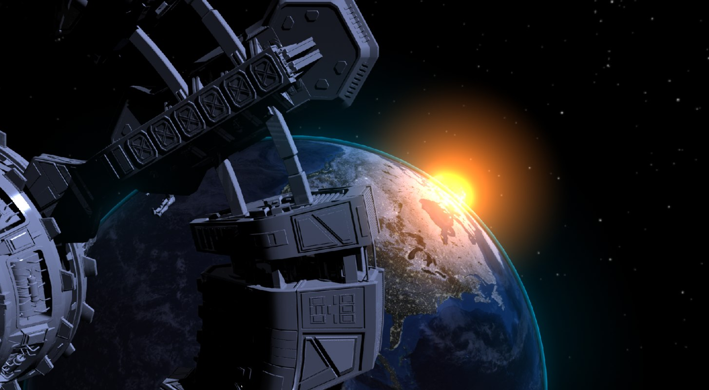 3d earth sun light night