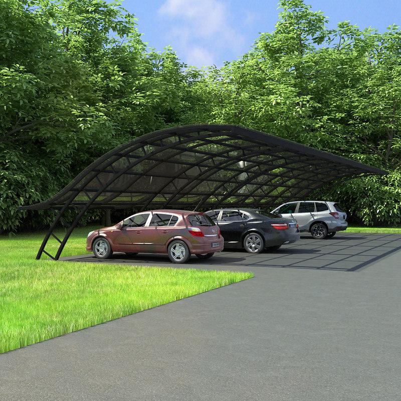 3ds max metal parking shelter