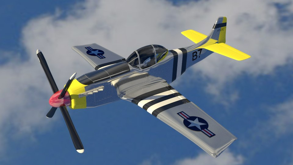 3d 3ds world war p-51 plane
