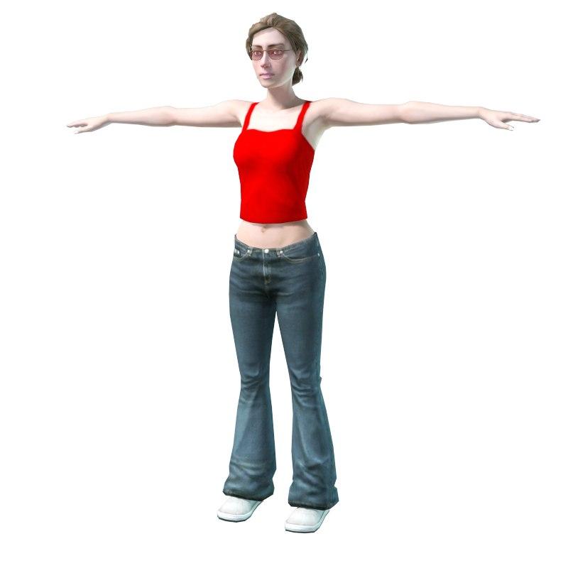 girl jeans 3d model