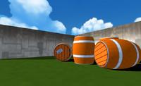 3d barrel retro gaming - model