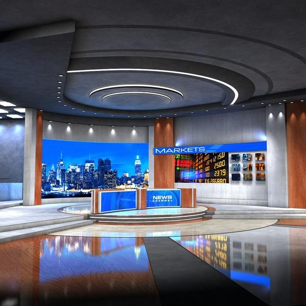 european news studio 3d model