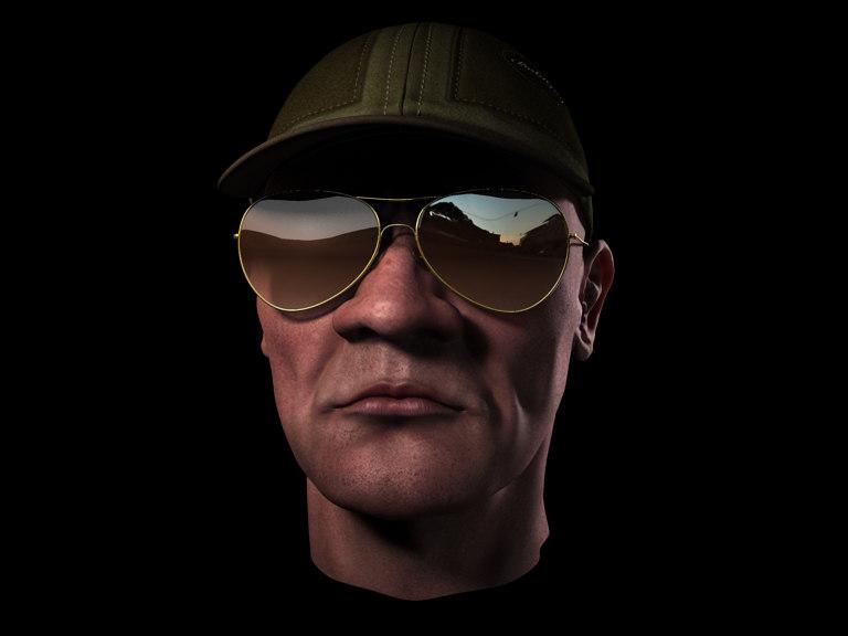 head cap sunglass 3d 3ds