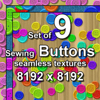 Sewing Buttons 9x Seamless Textures