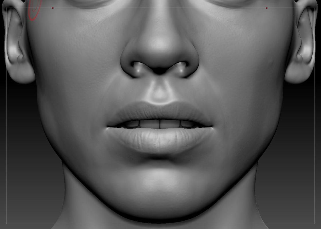 obj realistic woman head