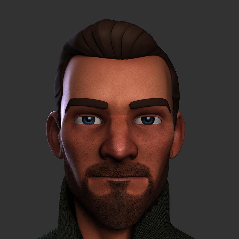 3d heroic cartoon character man