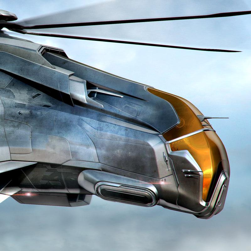 helicopter fighter 3d obj