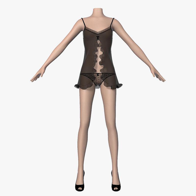 3d 3ds peignoir black female