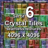 Crystal Glass Tiles 6x Seamless Textures, set #2