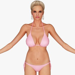 3d blonde woman bikini rigging model
