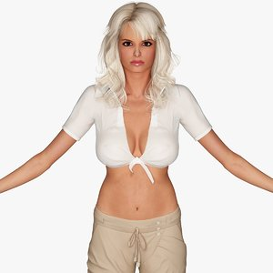 3d blonde woman character casual model