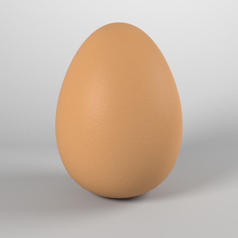 realistic brown egg 3d model
