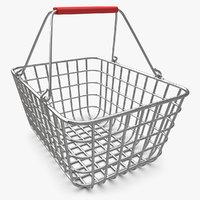 shopping basket chrome v2 3d model