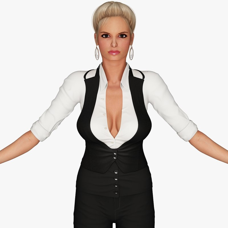 3d model blonde business woman character