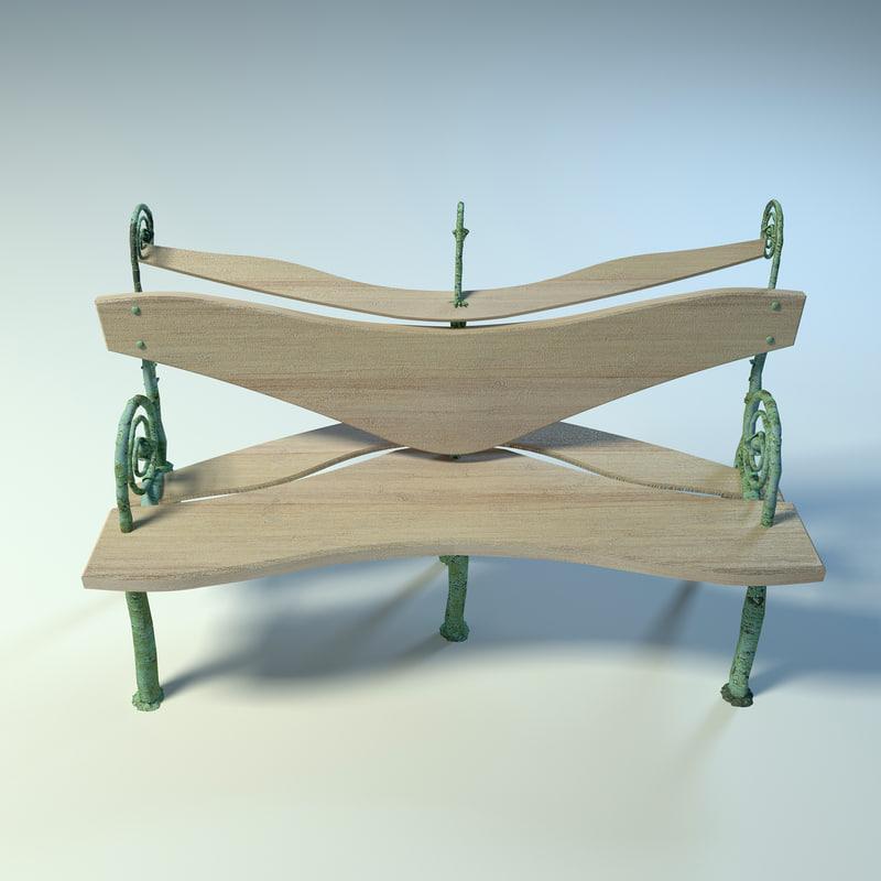 3d max benches park garden