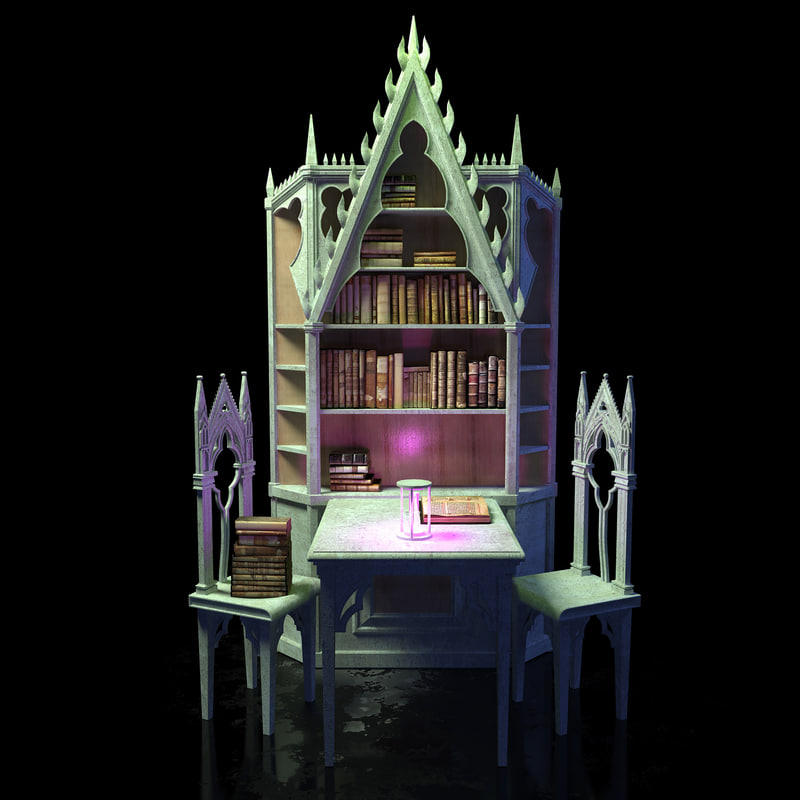 library table medieval 3d model
