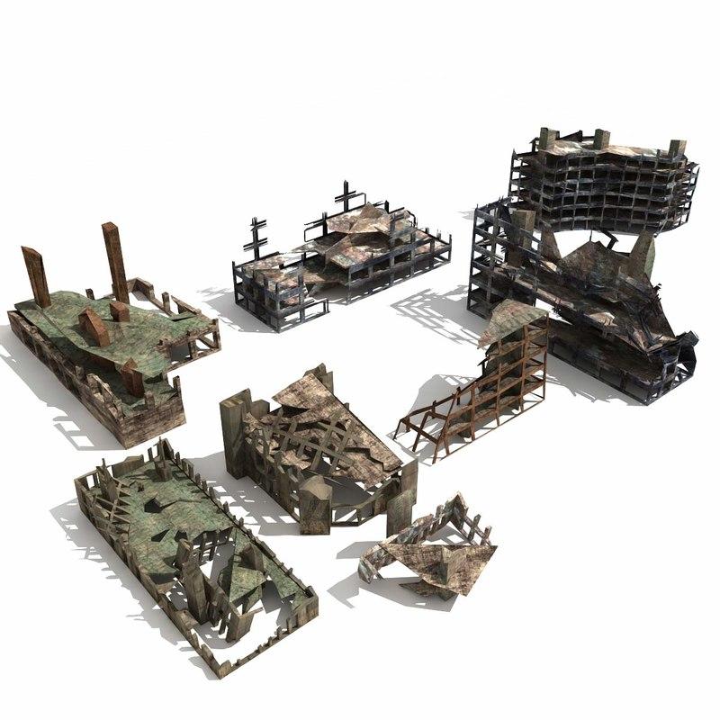 3d ruins destroyed buildings rubble model