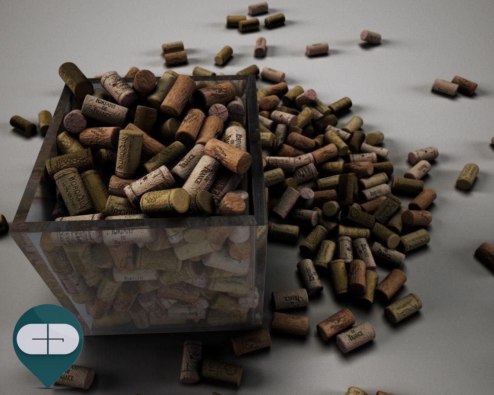 corks scattered 3d c4d