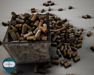 corks scattered 3d c4d