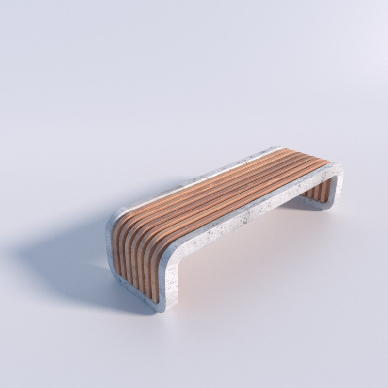 3ds max modern bench