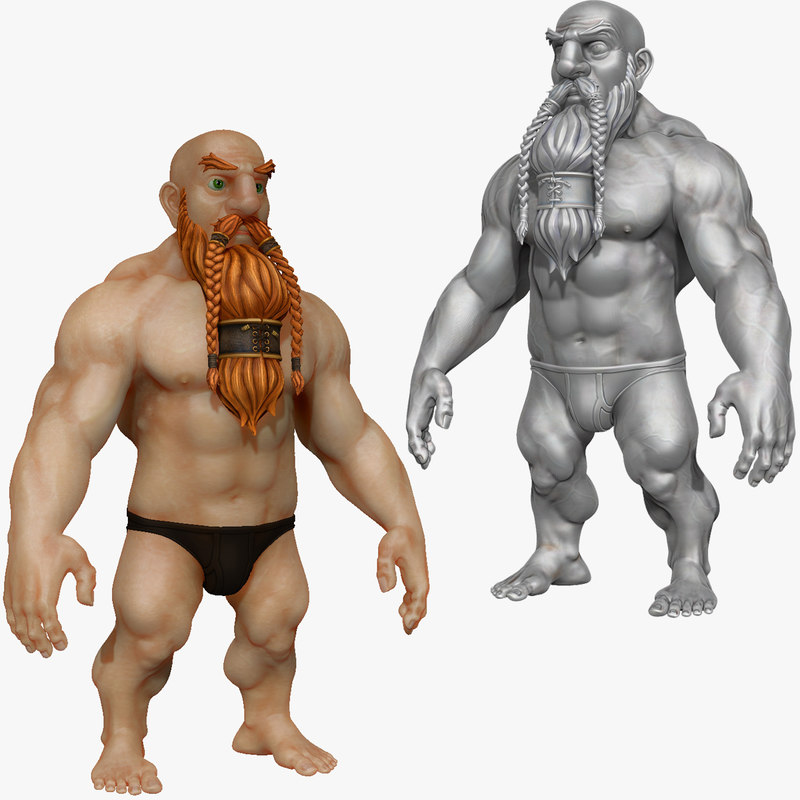 3d strong warrior dwarf beard