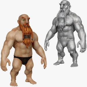 3d strong warrior dwarf beard
