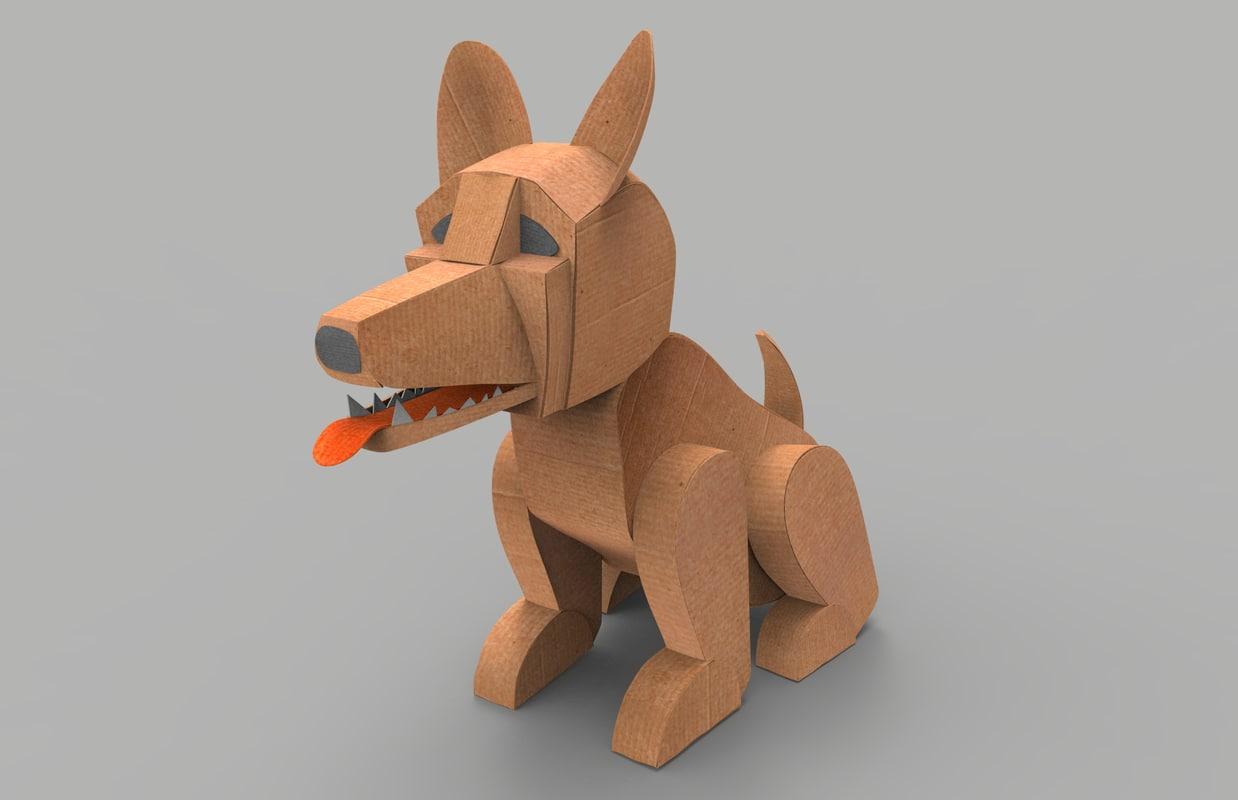 3d Dog Cardboard Model