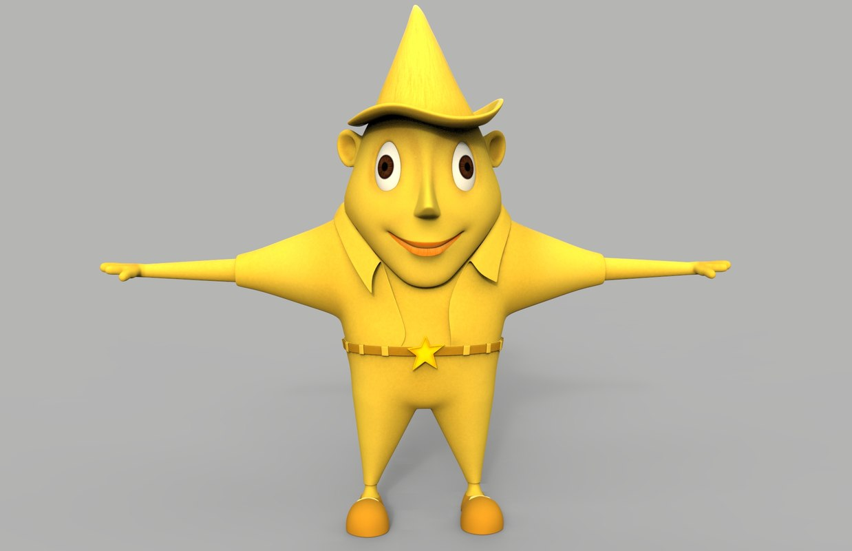 3d model of cartoon star character