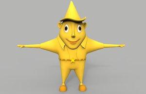 3d model of cartoon star character