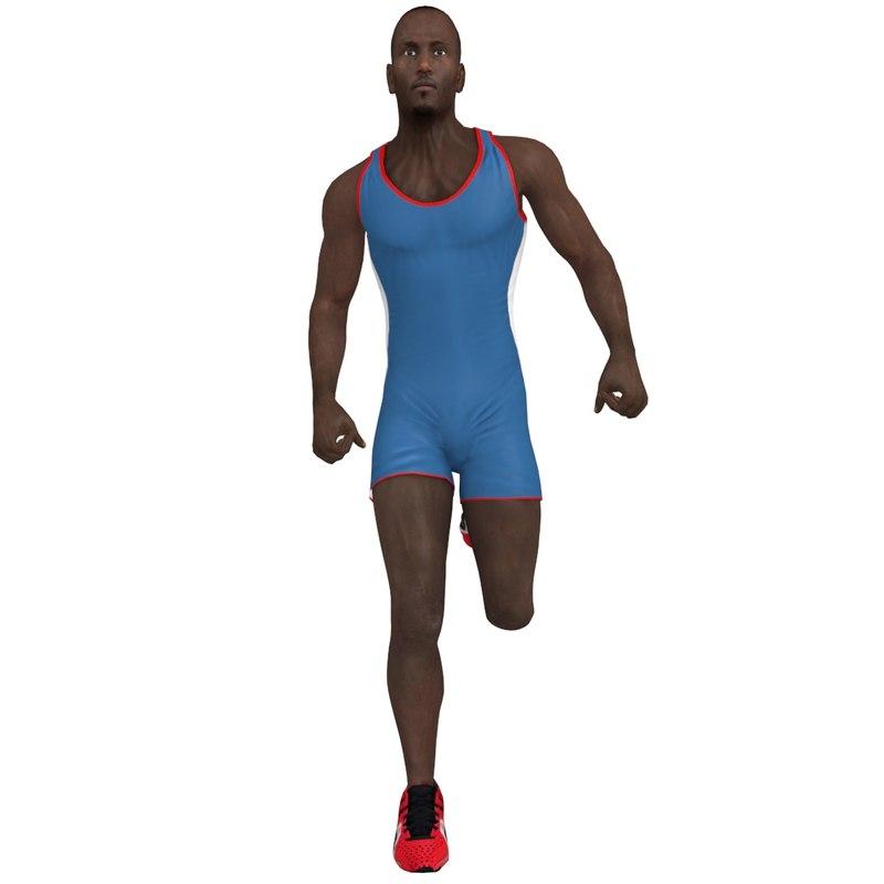 rigged athlete man 3d max