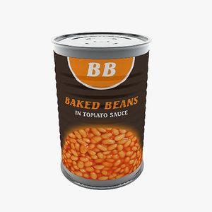3d food - baked beans model
