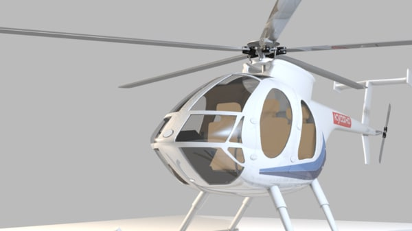 3d helicopter hughes 500