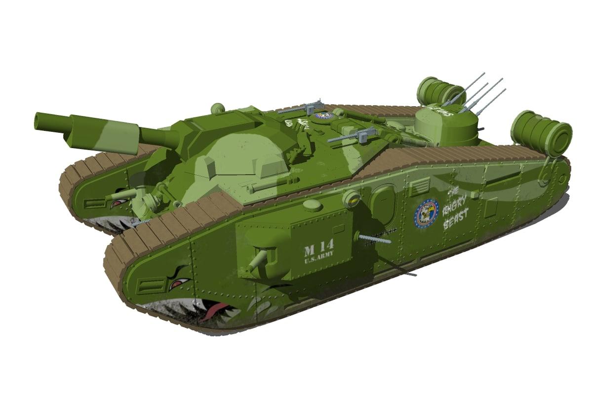 world war style tank 3d model